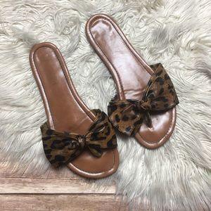 Madden Girl | Leopard Bow Slip-On Slide Sandals